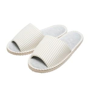 Hoi! 印花純棉室內拖鞋 條紋棕26cm(尚有其他尺寸可選擇)