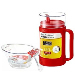 日本ASVEL油控式350ml調味油玻璃壺(紅色)+300ml量杯(特惠組)
