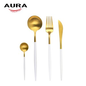 【AURA艾樂】Fantasy鈦奢華不鏽鋼餐具四件組(金+白)