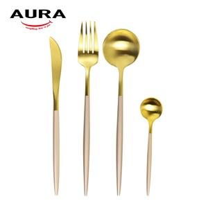 【AURA艾樂】Fantasy鈦奢華不鏽鋼餐具四件組(金+玫瑰柄)