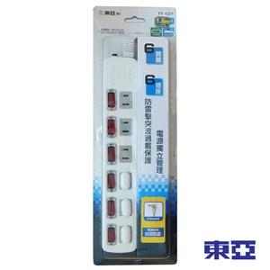 東亞 家用六開關六插座電源延長線 6尺 TY-122-6尺