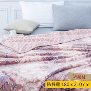 HOLA 貝爾曼防靜電雙層法蘭絨毯 粉色款 雙人