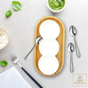 【英國 WILMAX】竹製長圓形餐盤/輕食盤附圓型三格盤茶匙