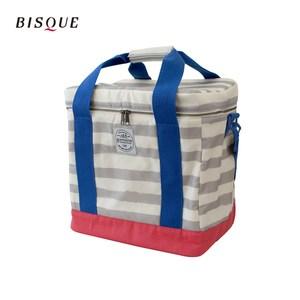 【日本BISQUE】方形保冷保溫箱袋-L條紋灰