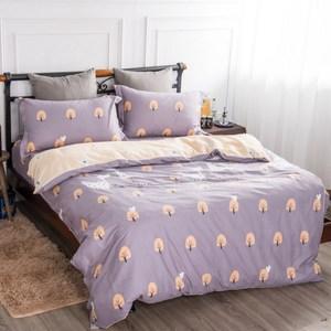 【夢工場】幸福羅曼精梳棉鋪棉兩用被床包組-加大