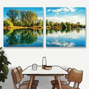 【24mama 掛畫】二聯式油畫布無框畫 30x30cm-寧靜森林湖面油畫布無時鐘
