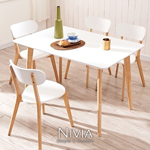 【obis】Nivia北歐實木桌椅組(一桌四椅)