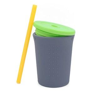 美國silikids果凍餐具-TOGO矽膠吸管杯組12oz-酷灰