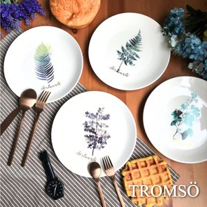 TROMSO手繪小清新綠葉陶瓷盤四入組