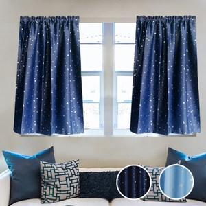 【三房兩廳】滿天星短版遮光窗簾-天藍100X130cm(1片入)