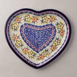 波蘭陶 沙漠玫瑰系列 愛心造型餐盤 波蘭手工製