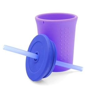 美國silikids果凍餐具-TOGO矽膠吸管杯組12oz-淘氣紫