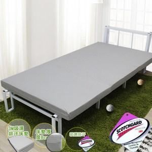 【KOTAS】吸濕排汗3M高密度透氣8公分床墊單人-(灰)灰單人