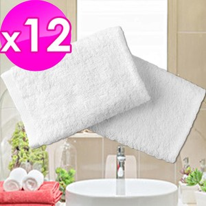 【法式寢飾花季】純品良織-五星飯店專用款純白柔舒毛巾(150g/條)x12件組
