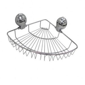 強力吸盤式#304不鏽鋼扇型置物架