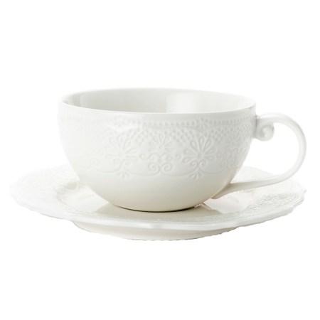HOLA 諾娜蕾絲杯碟組 220ml 白