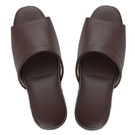 H115 法系優雅舒適皮拖鞋 咖啡色款 26cm