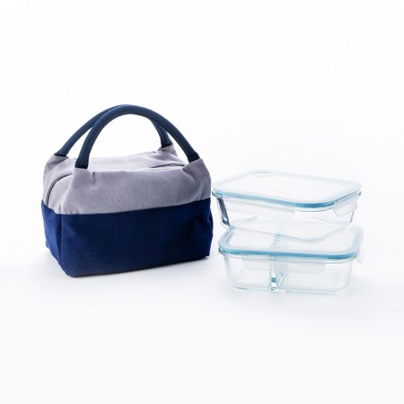 HOLA 布諾玻璃保鲜盒附提袋2入組