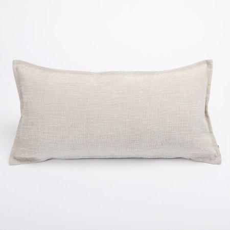 HOLA 素色仿麻羽絲棉抱枕 30x60cm 米灰