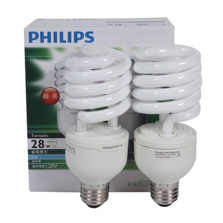 飛利浦T3省電燈泡28W-白光2入