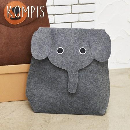 日本KOMPIS 北歐風可愛動物玩具收納箱-大象