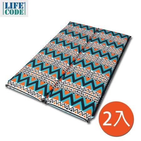 【LIFECODE】民族風-單人自動充氣睡墊(可拼接)-厚8cm(2入組)