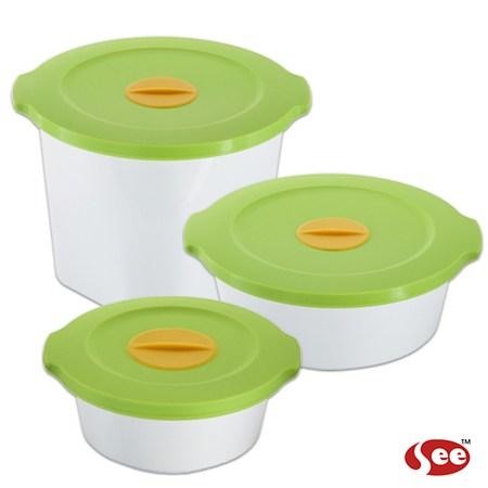 【S.E.E.】 Breere會呼吸的保鮮盒(三件組/圓形)-蘋果綠