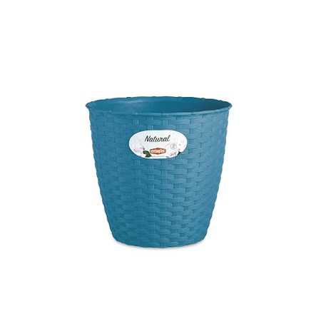 義大利Stefanplast 藤編紋圓盆 直徑14cm-海水藍