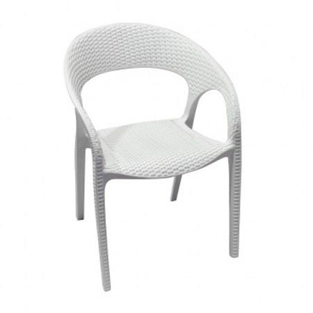 盧卡斯塑膠扶手單椅 白色款 58x60x82cm