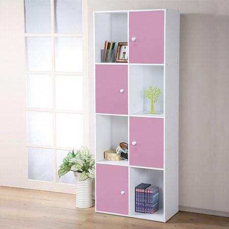【Homelike】現代風八格四門置物櫃(三色)粉紅