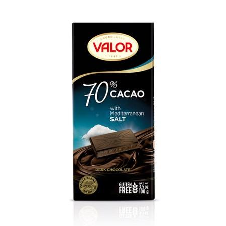 西班牙Valor70%海鹽黑巧克力片100g