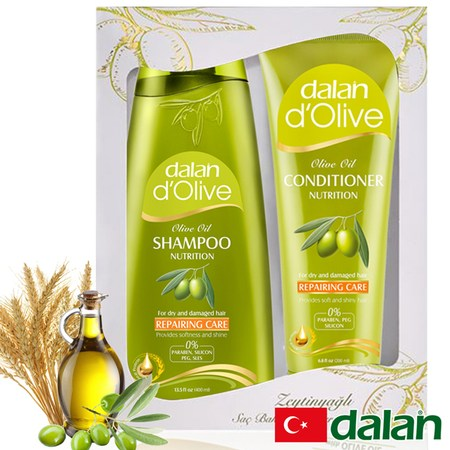 【土耳其dalan】橄欖油小麥蛋白修護魔髮組禮盒