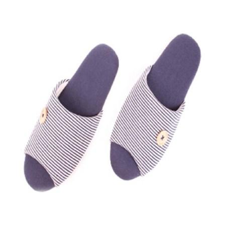 66071扣扣棉布室內拖鞋 藍M