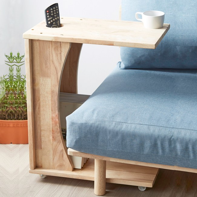 實木簡約自然木紋可移動收納置物沙發邊几
