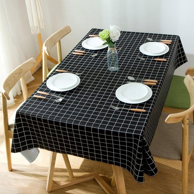 【三房兩廳】愛不釋手防水防油桌巾/桌布-140X180cm(中格黑色)