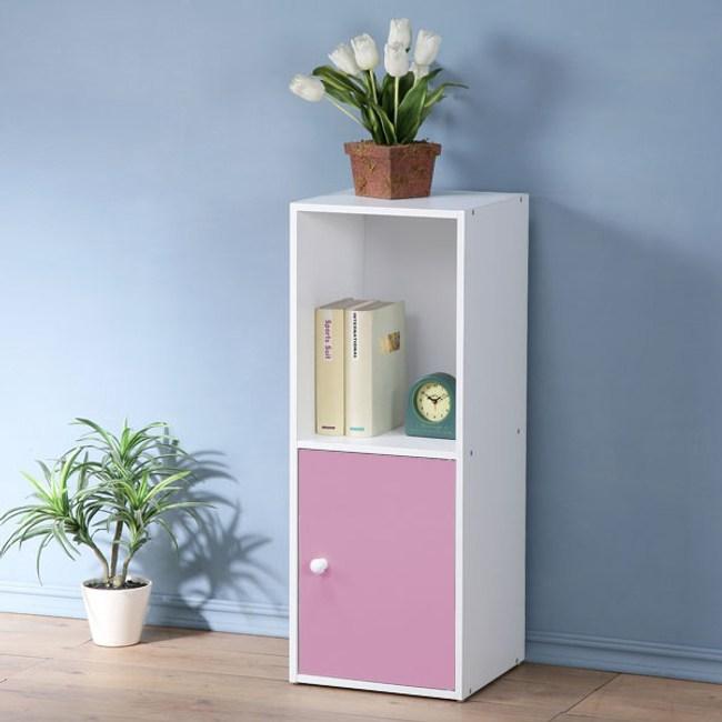 【Homelike】現代風二格單門置物櫃(三色)粉紅