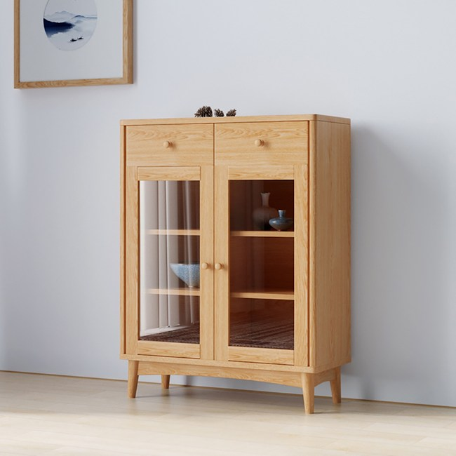 林氏木業北歐自然白橡木雙門二抽餐櫃BH5O-C(具防倒功能)-原木色