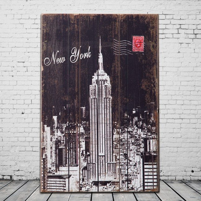OPUS LOFT純真年代 40X60無框木板畫(美國帝國大廈)
