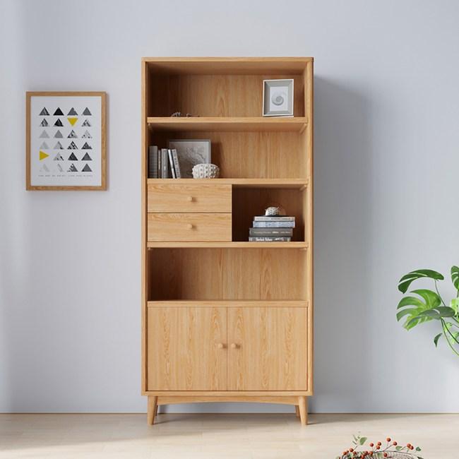 林氏木業北歐自然白橡木雙門二抽收納展示櫃BH6Q-C(具防倒功能)-原木色