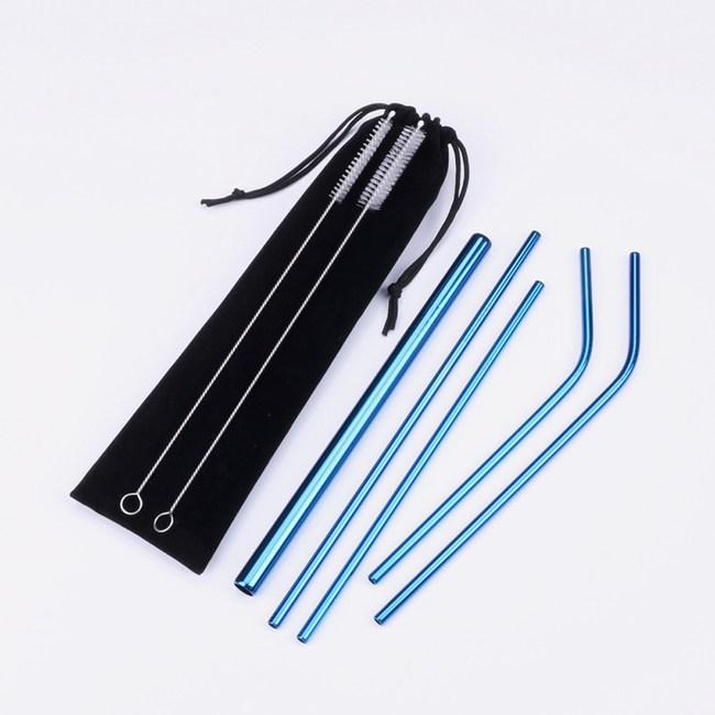 PUSH!餐具用品不鏽鋼金屬吸管組珍珠吸管(2入組)E134-5藍色藍色2組