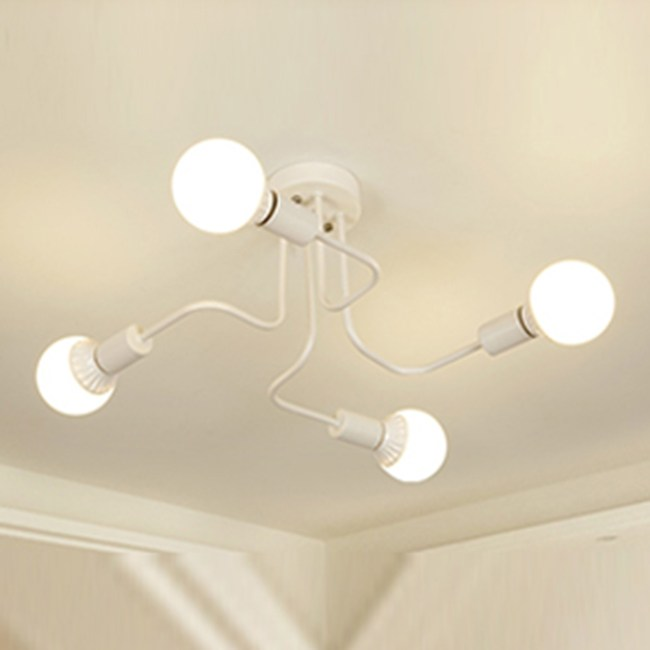 HONEY COMB 工業風火線幾何吸頂燈 雙色款 4光源 白色 TA8010