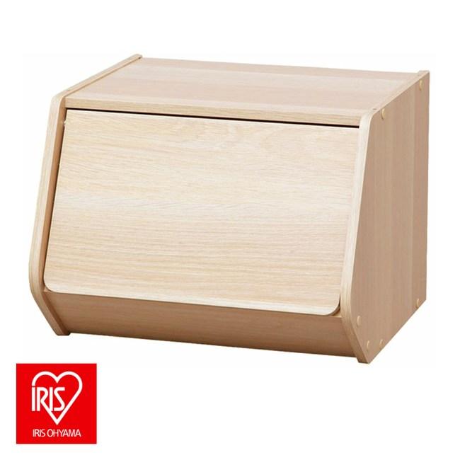 日本IRIS木質可掀門堆疊櫃 寬40cm淺木色E1板材 DIY