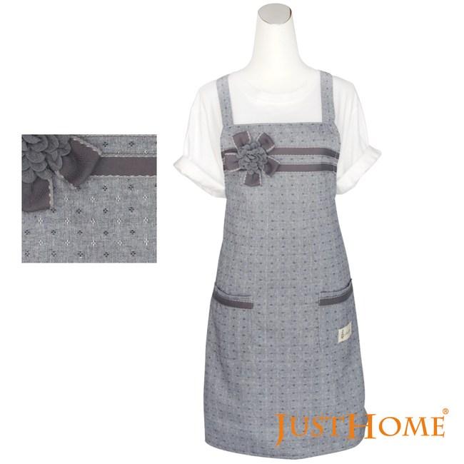 Just Home花言防水圍裙(65x75cm)廚房烹飪及居家好幫手深藍色