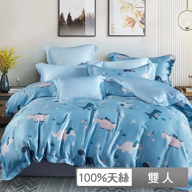 【貝兒居家寢飾】100%天絲全鋪棉床包兩用被四件組(雙人/侏羅紀)