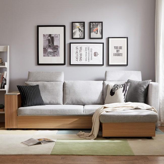 林氏木業簡約坐臥兩用轉角三人座沙發床(附抱枕) 1011-淺灰 (含腳踏)