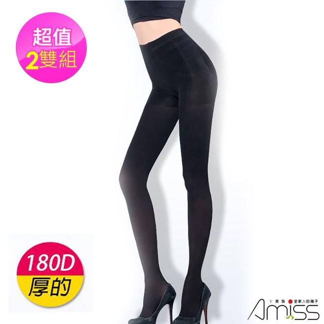 【Amiss機能感】MIT塑腹美臀X波浪天鵝絨保暖褲襪黑2入(1170 -31)