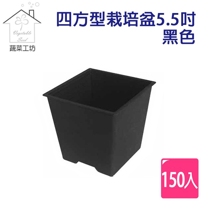 四方型栽培盆5.5吋-黑色(厚)150個/件