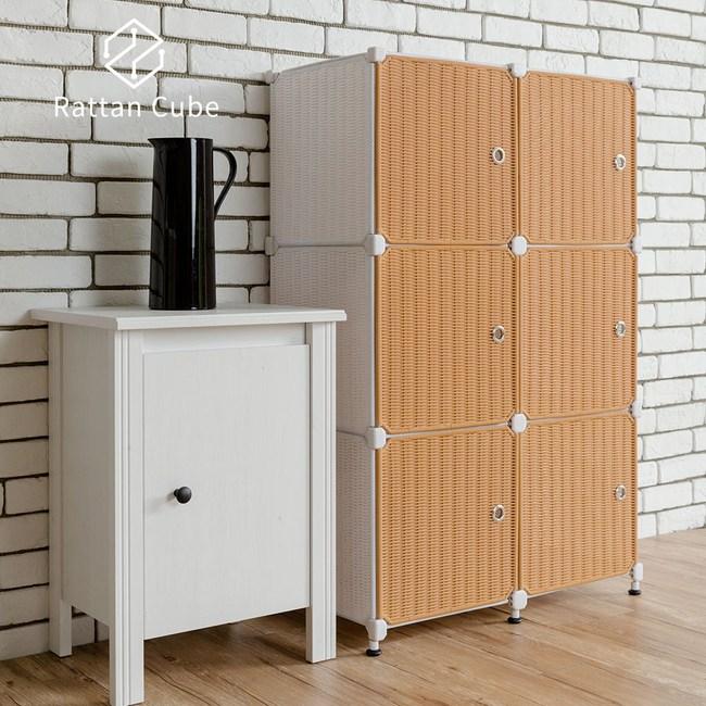 【藤立方】組合3層6格收納置物櫃(6門板+調整腳墊)-白色/蜂蜜色-DIY