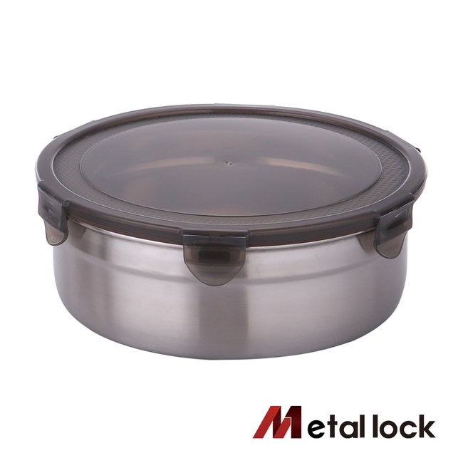 韓國Metal lock 圓形不鏽鋼保鮮盒1900ml