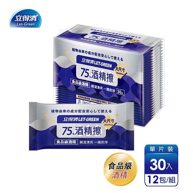 【立得清】75%酒精擦濕紙巾清潔抗菌擦拭無水痕-單片裝(30片x12包